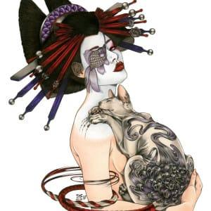 Zoe Lacchei - Geisha with Tattoed cat